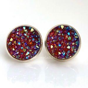 3 for $15🎀mahogany iridescent faux druzy studs